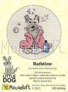 Mouseloft Bathtime Little Dog cross stitch kit